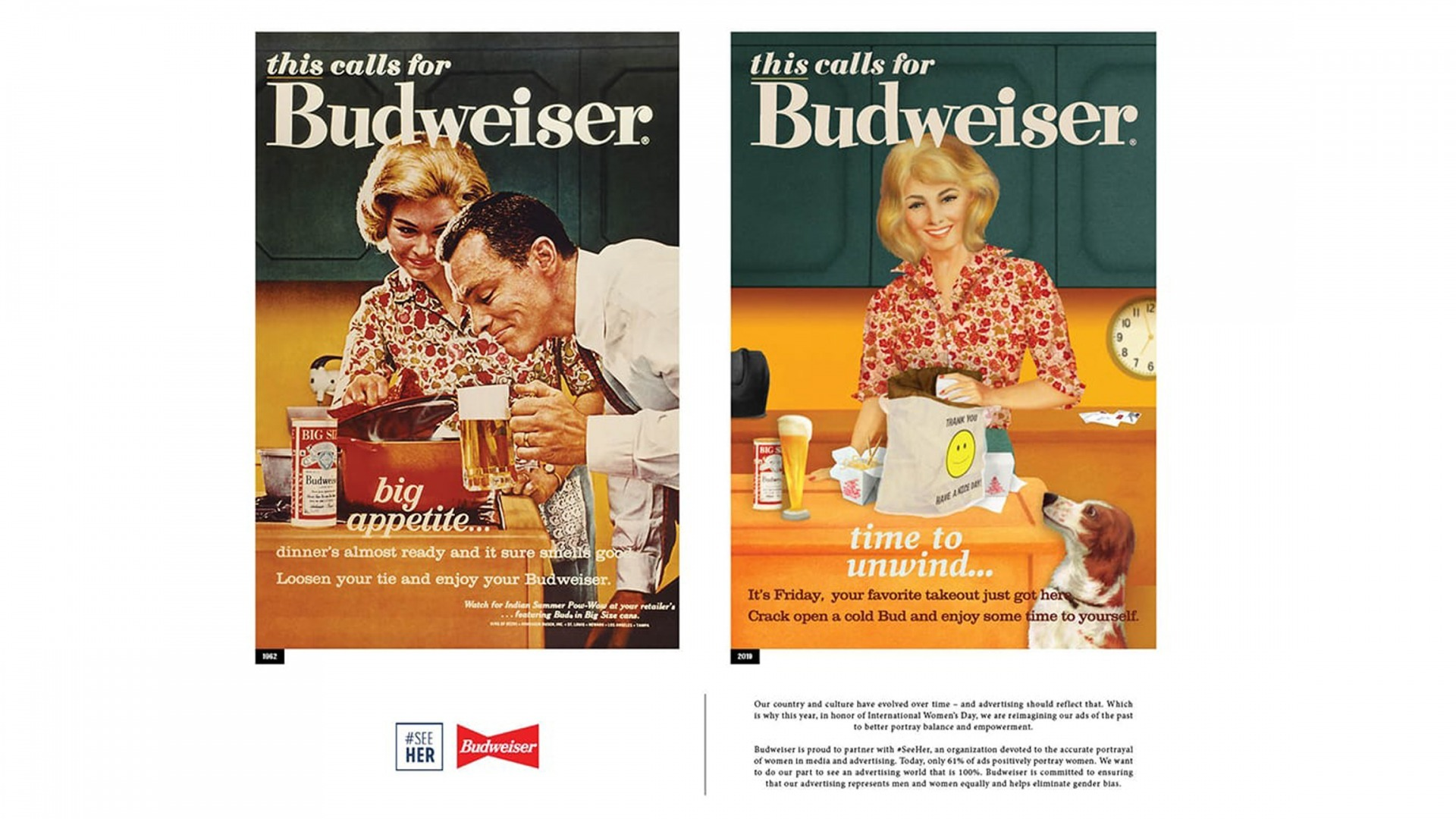 This vintage Budweiser ad from the 1960s was updated for a 2019 ad campaign.