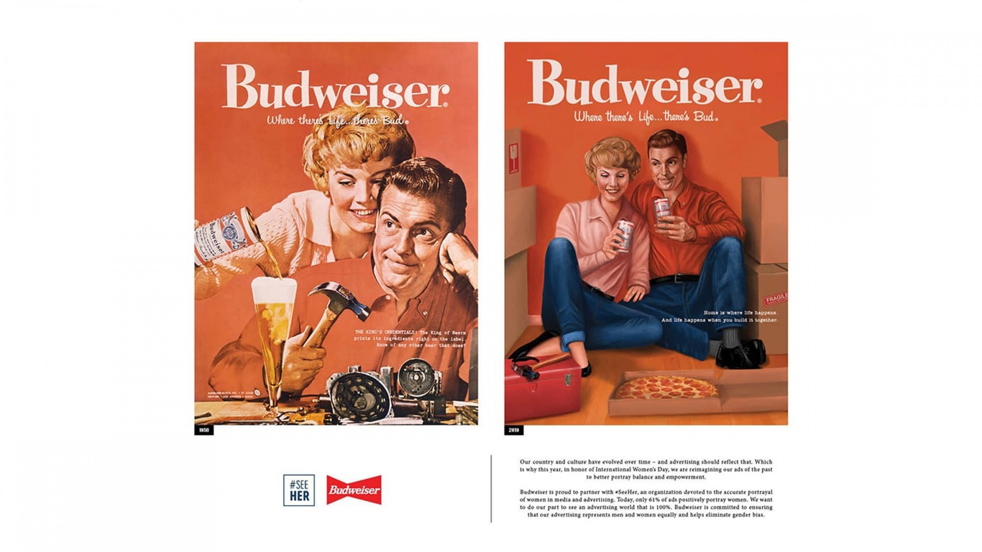 A vintage Budweiser advertisement that has been updated for a 2019 ad campaign.