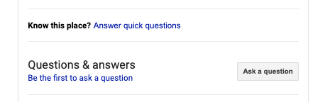 An example of the Q&A feature on Google My Business.