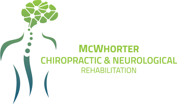 The logo for McWhorter CNR, designed by our Denver branding firm. The logo is comprised of green and blue colors, displaying an artistic brain and spinal stem within a human body.