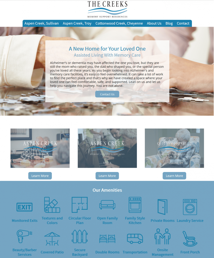 The new homepage layout for The Creeks, courtesy of our Chicago web design firm.