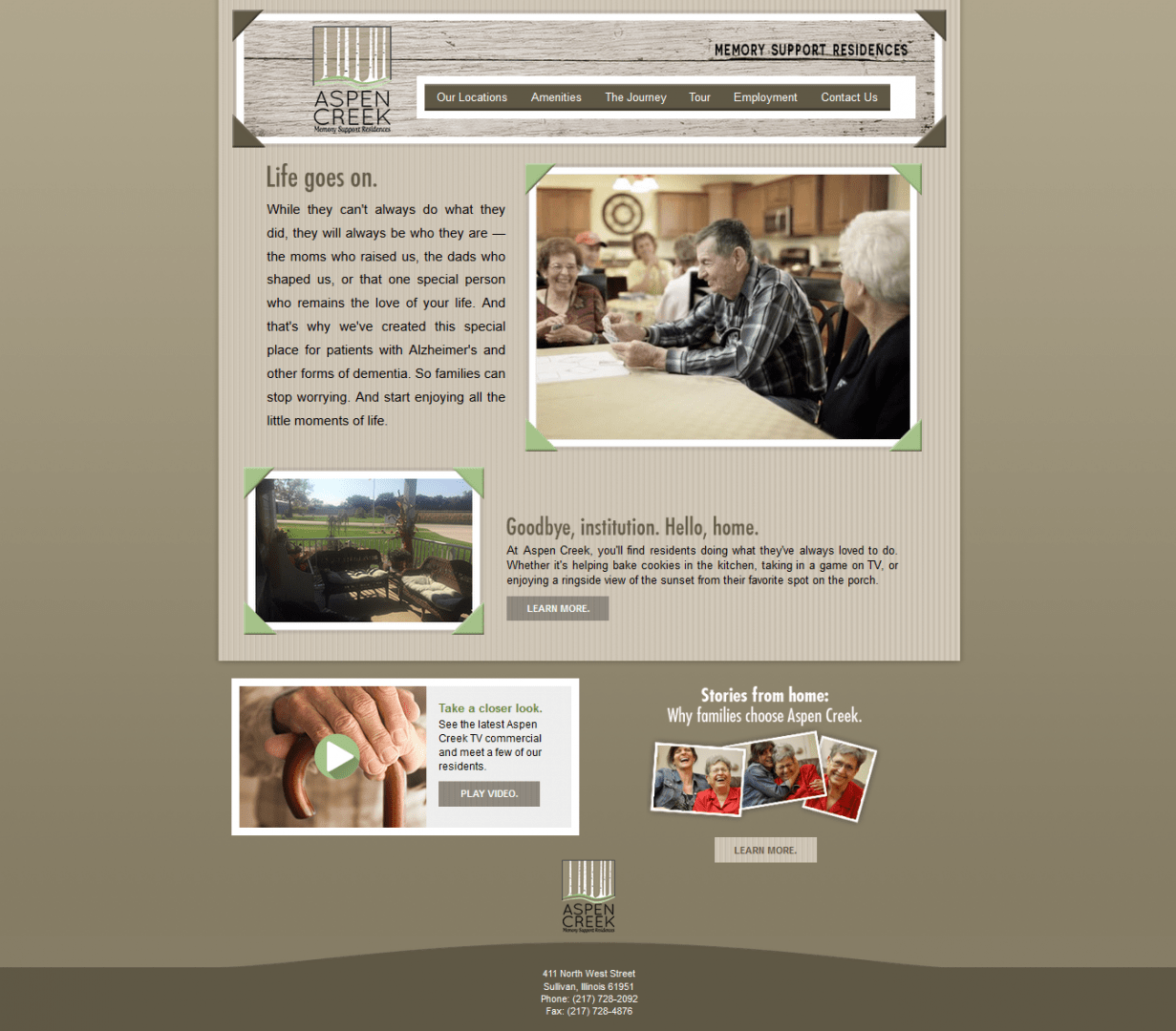 A screenshot of the original site design for The Creeks, before working with our Chicago web design firm.