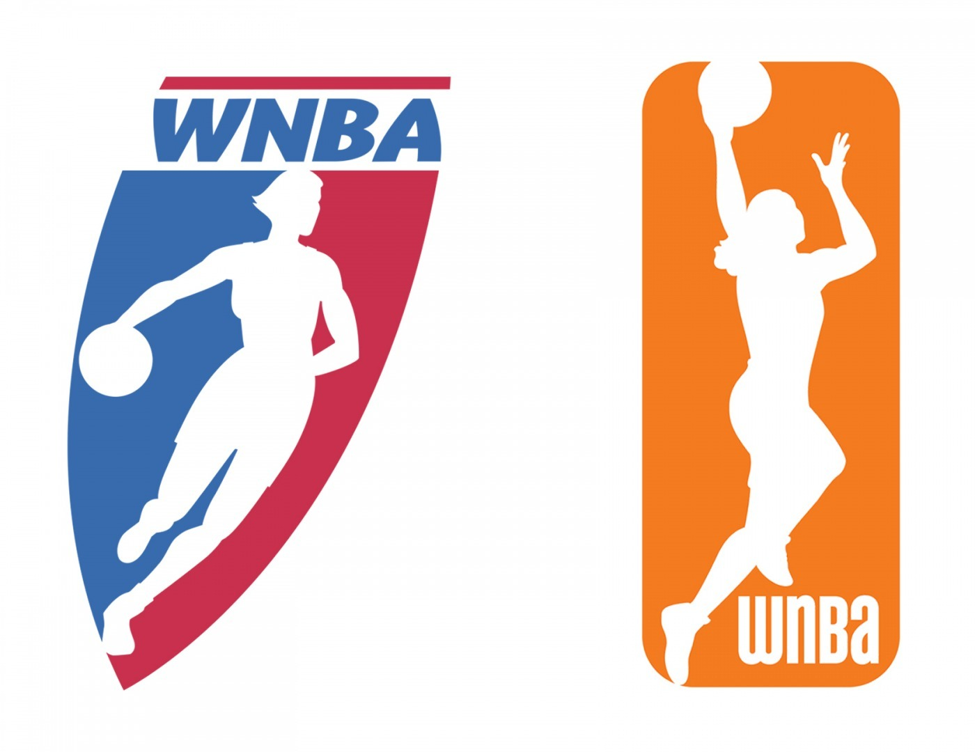 The older logos of the WNBA. On the left, the original WNBA logo from the organization's inception in 1997. On the right, the rebranded logo from 2013.