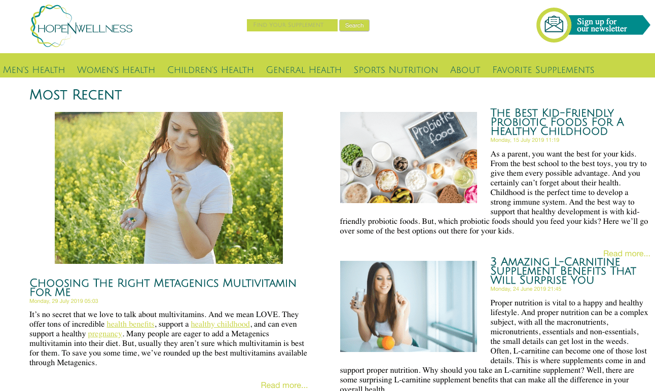 A screenshot of the HopeNWellness affiliate marketing website.