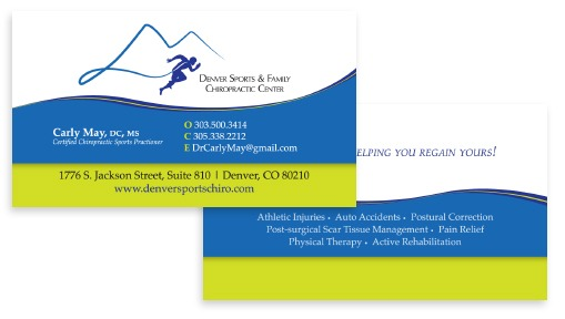 The business cards FiG developed for the Denver Sports and Family Chiropractic Center.