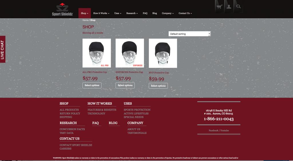 New Sport Shieldz products page