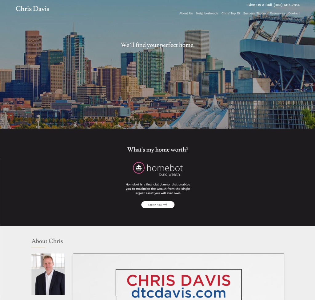 A screenshot of the original homepage for Chris Davis' website, before FiG updated his real estate advertising strategies.