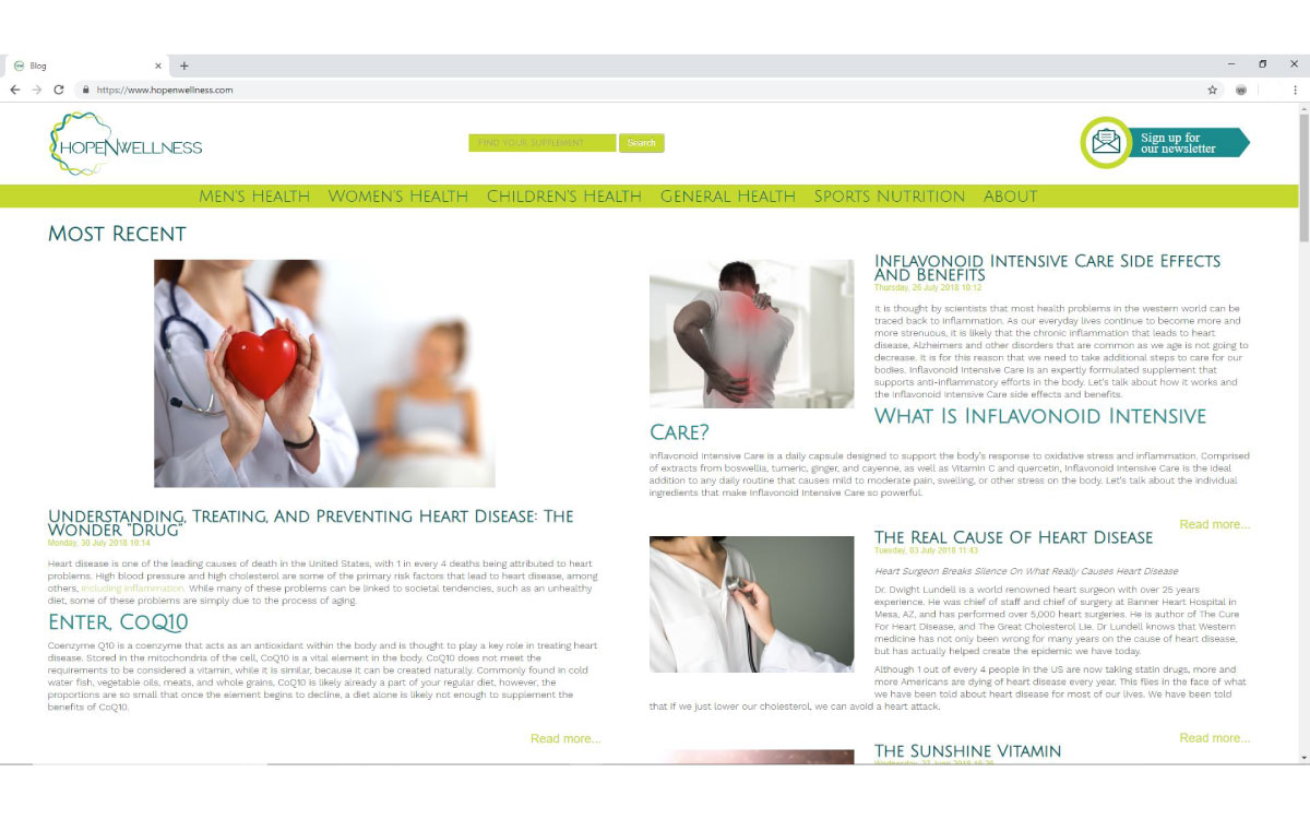 HopeNWellness Website
