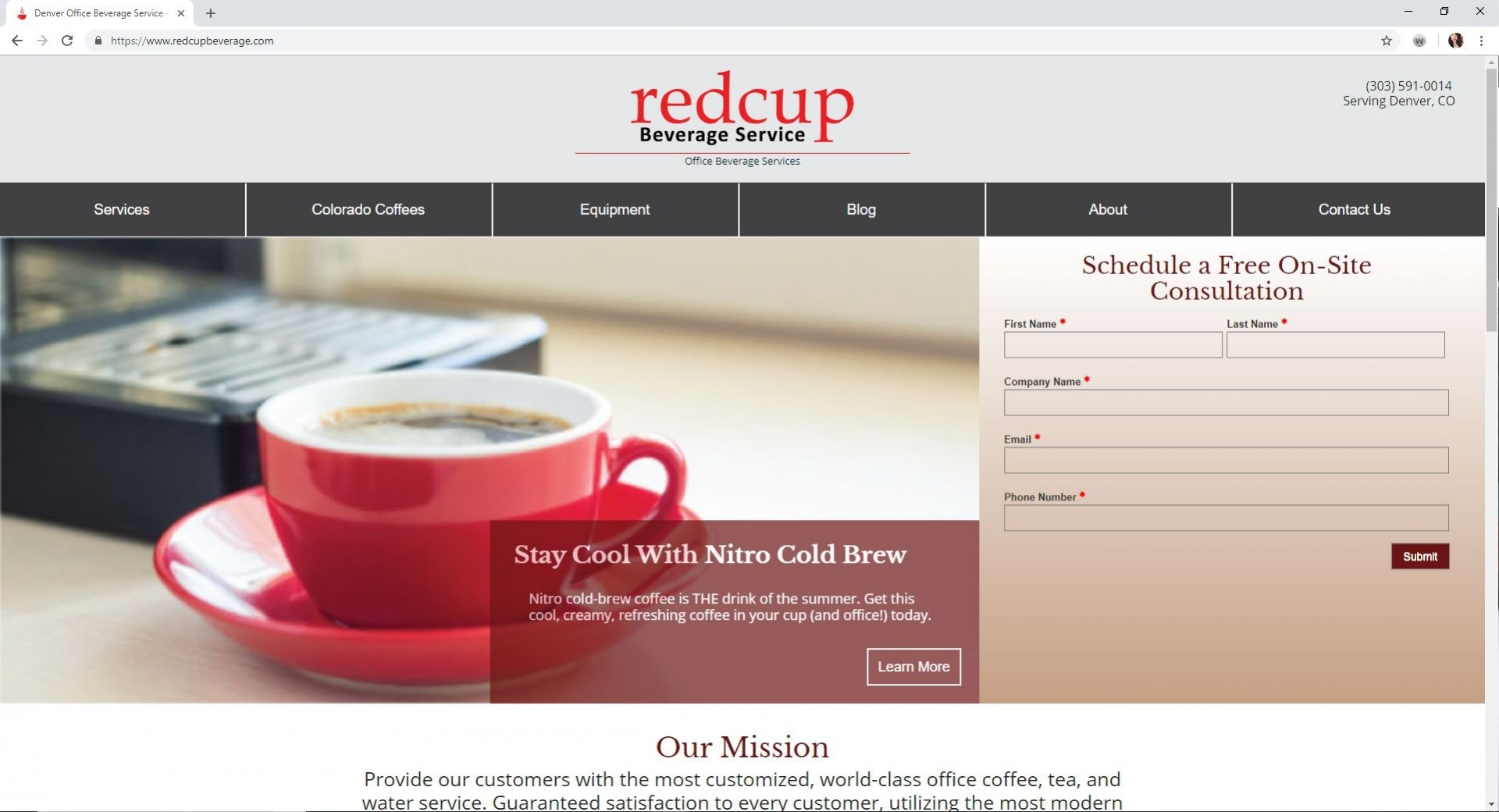 redcup Beverage Service Website