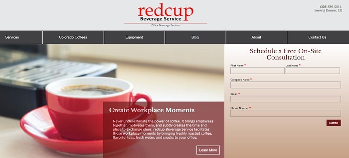 A screenshot of the homepage for the website design of redcup Beverage Service.