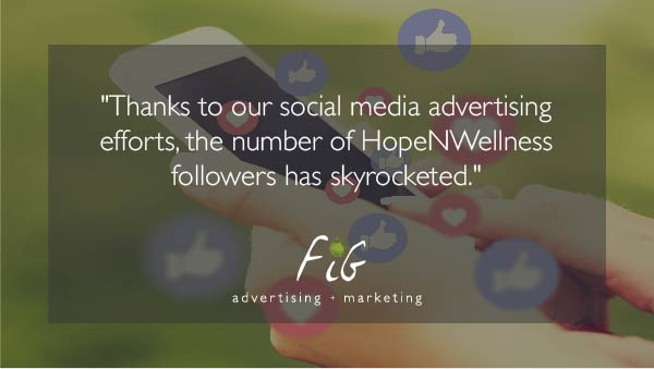 A quote from the article displayed over a social media feed. It reads, 'Thanks to our social media advertising efforts, the number of Hope N Wellness followers has skyrocketed.'