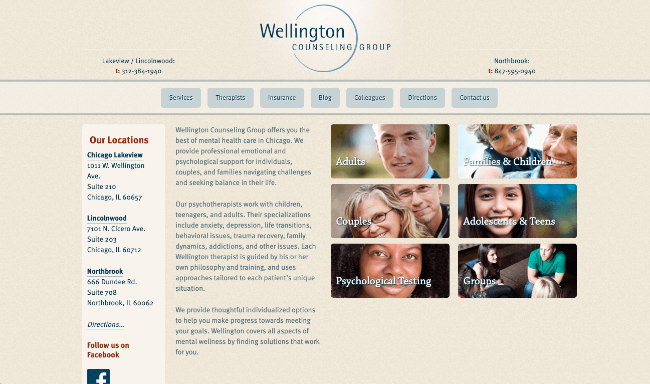 A screenshot of the old Wellington Counseling Group homepage, before the partnership with FiG began.