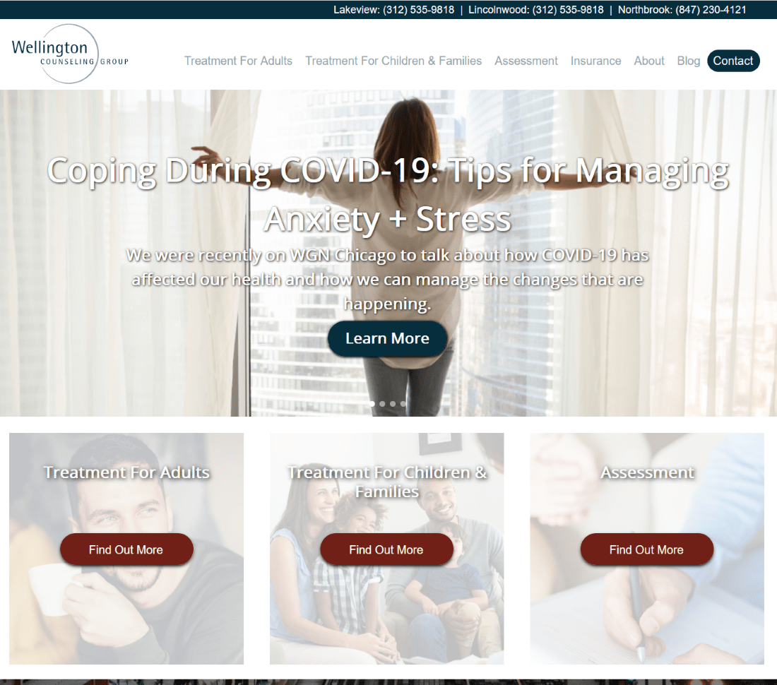 Check out the new website for Wellington Counseling Group, courtesy of our SEO agency in Chicago.