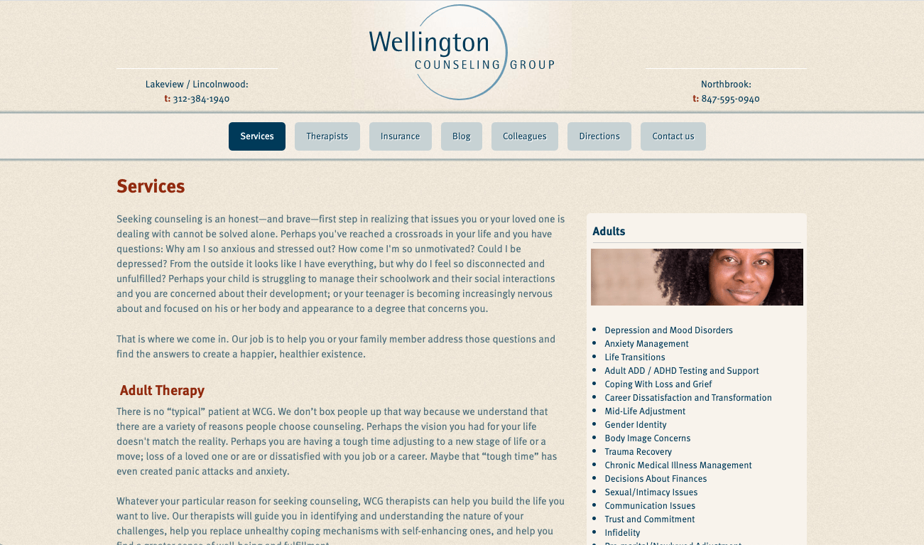 A screenshot of the old Wellington Counseling Group services page. Our SEO firm saw some clear ways to improve the site from here.