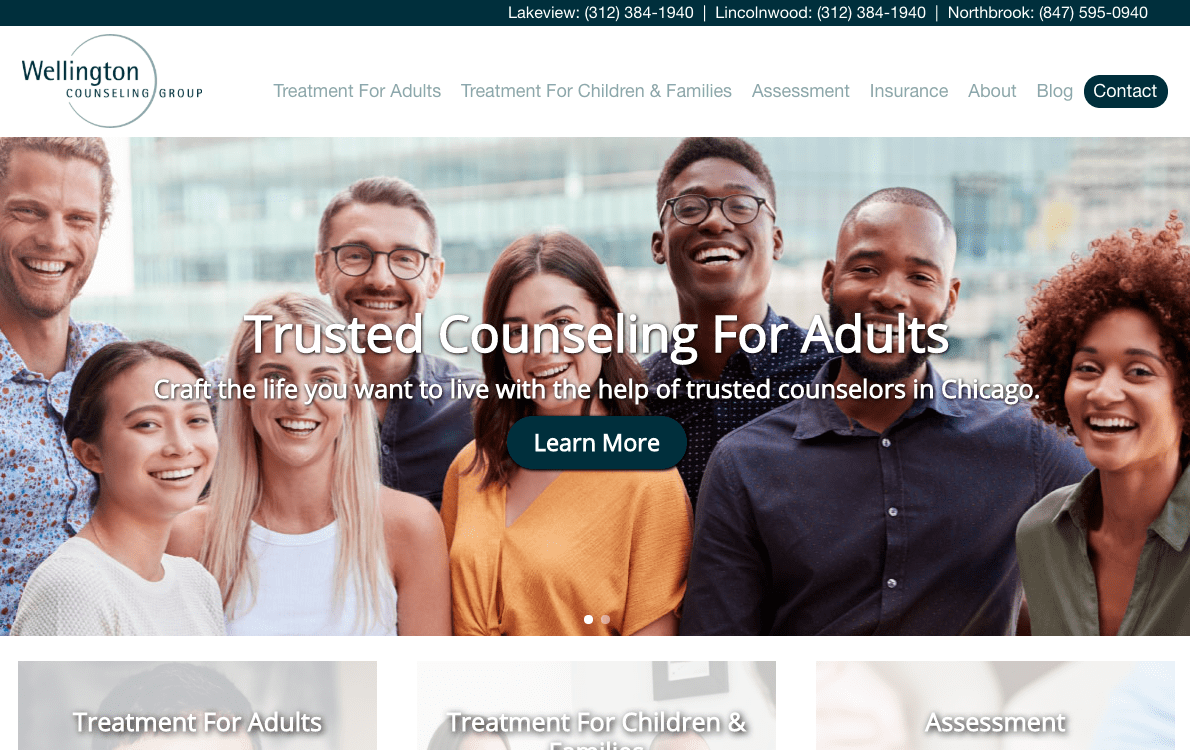 A screenshot of the new homepage website design for the Wellington Counseling Group, created by FiG, a leading SEO firm in Chicago.